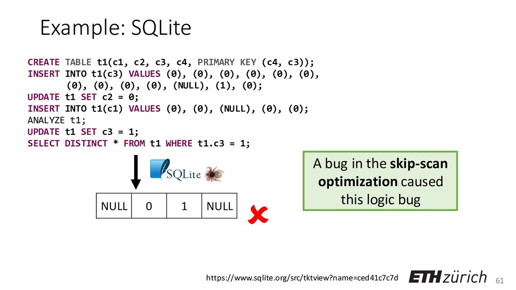 61 Example: SQLite CREATE TABLE t1(c1, c2, c3, ...