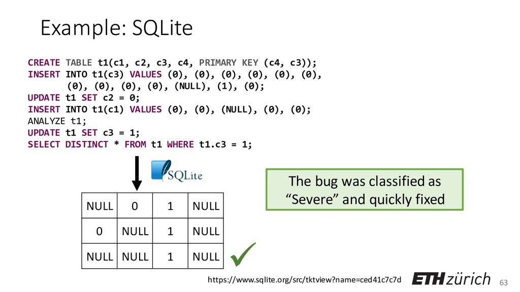63 Example: SQLite CREATE TABLE t1(c1, c2, c3, ...