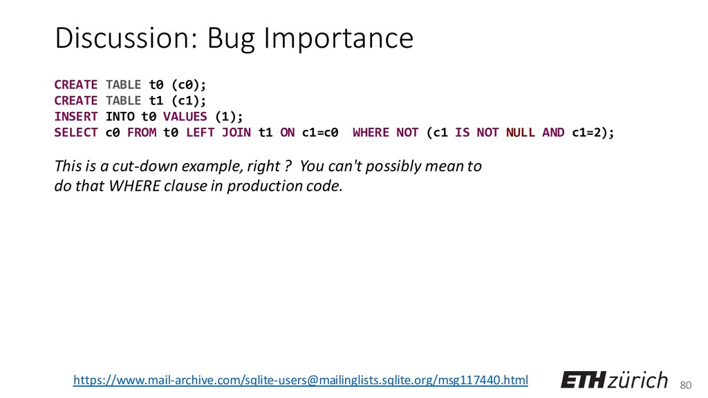 80 Discussion: Bug Importance This is a cut-dow...