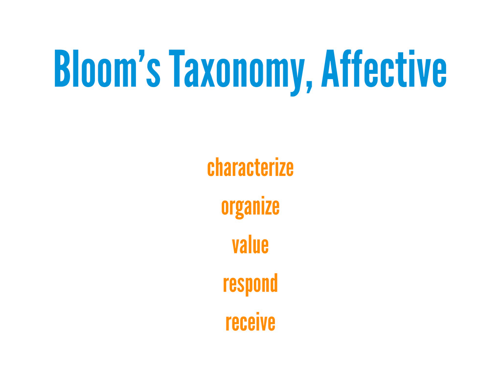 Bloom's Taxonomy, Affective characterize organi...