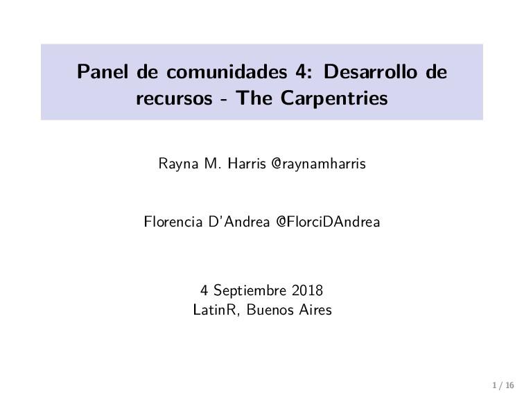 Panel de comunidades 4: Desarrollo de recursos ...
