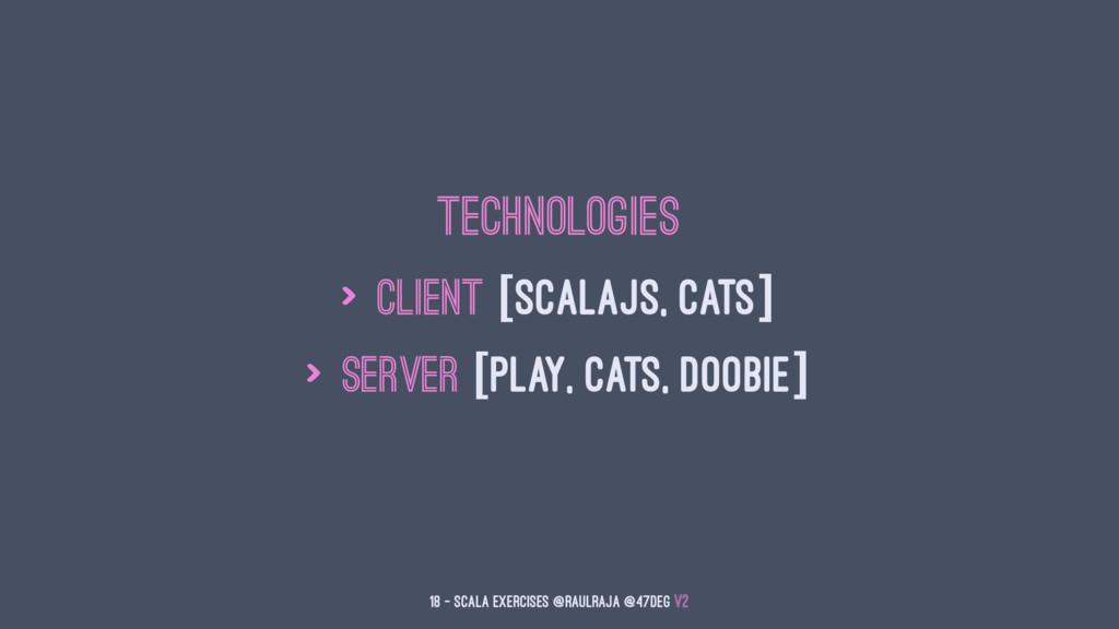 Technologies > Client [ScalaJS, Cats] > Server ...