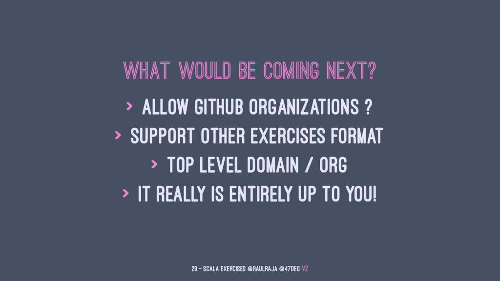 What would be coming next? > Allow Github organ...