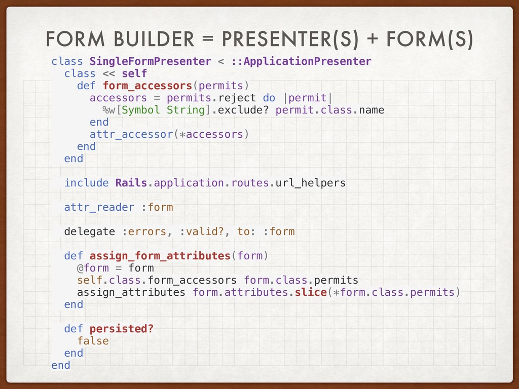 FORM BUILDER = PRESENTER(S) + FORM(S) class Sin...