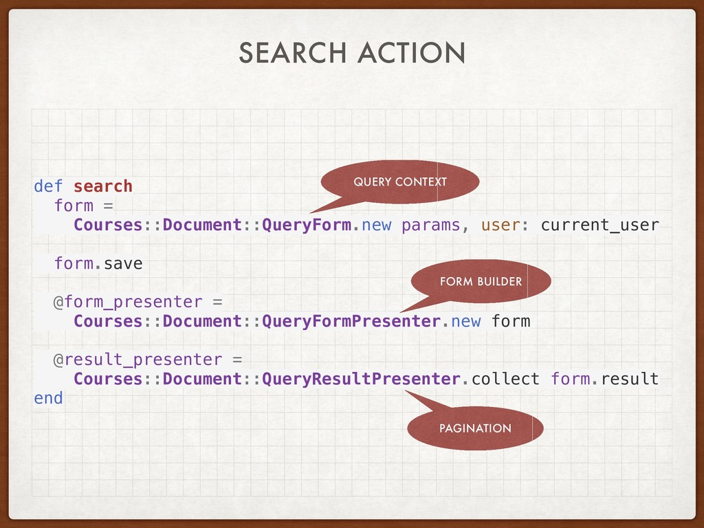 SEARCH ACTION def search form = Courses::Docume...