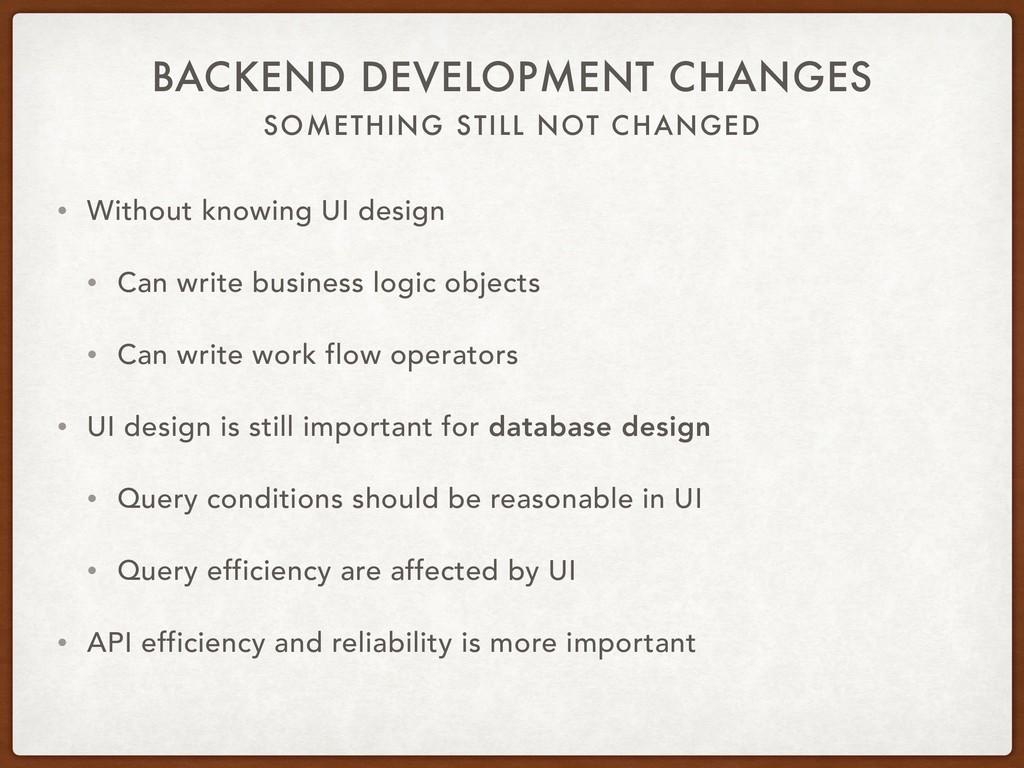 SOMETHING STILL NOT CHANGED BACKEND DEVELOPMENT...