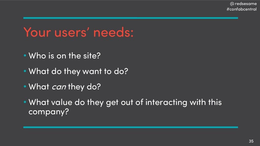 @ redsesame #confabcentral 35 Your users' needs...