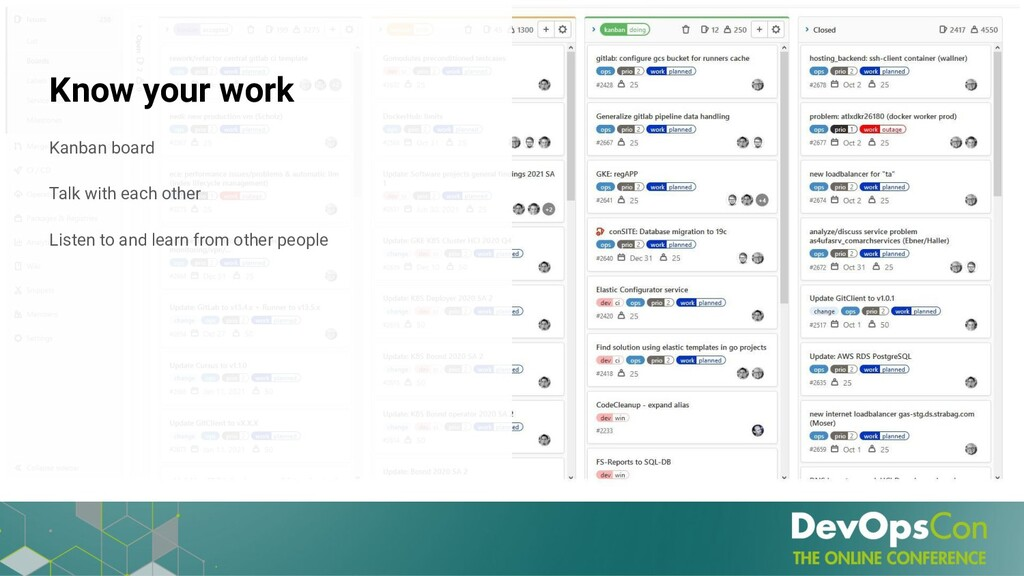 Know your work Kanban board Talk with each othe...