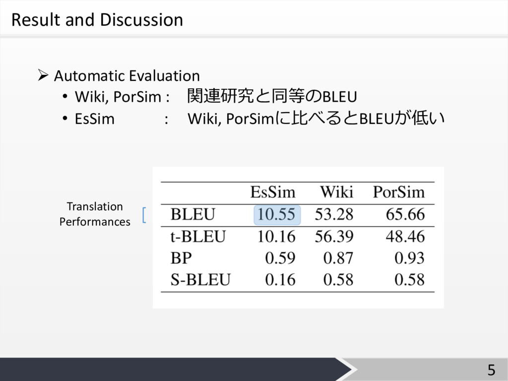 Result and Discussion Ø Automatic Evaluation • ...
