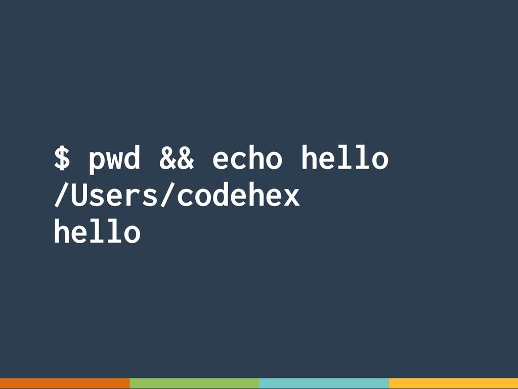 $ pwd && echo hello /Users/codehex hello