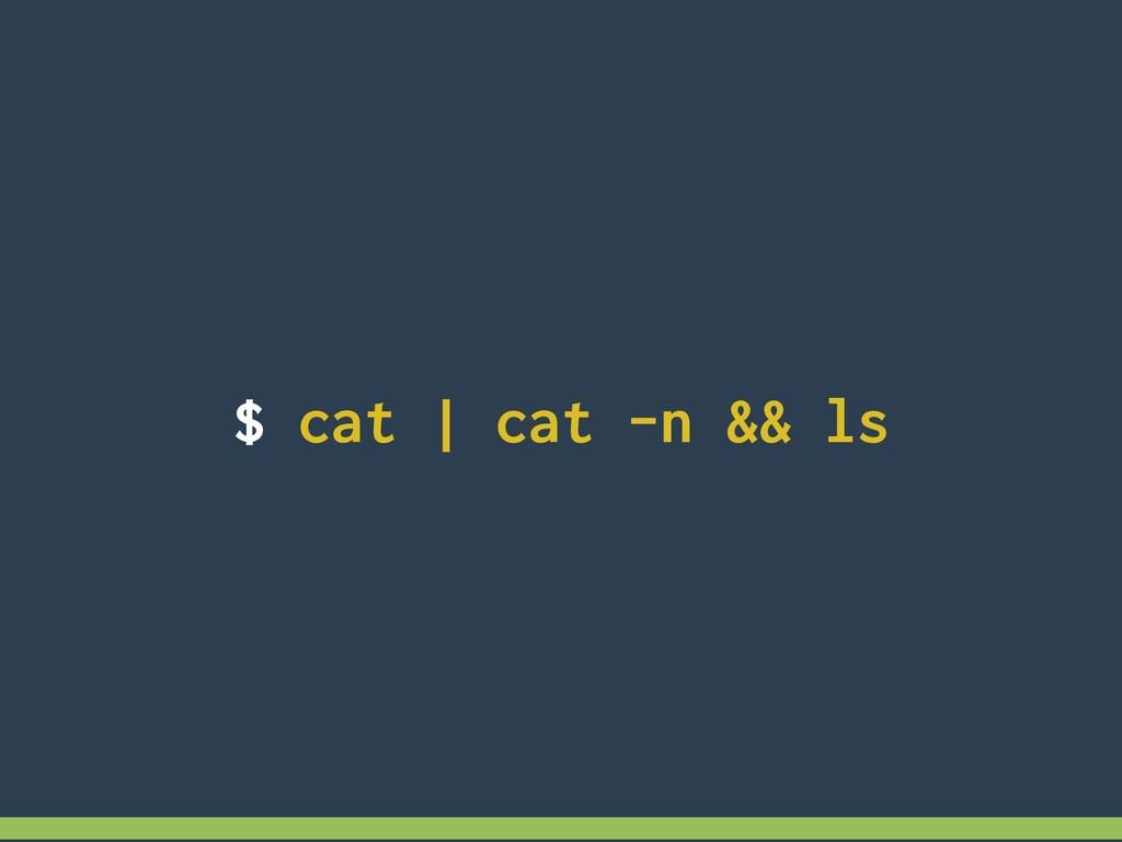 $ cat | cat -n && ls