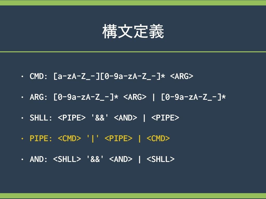 ߏจఆٛ • CMD: [a-zA-Z_-][0-9a-zA-Z_-]* <ARG> • AR...