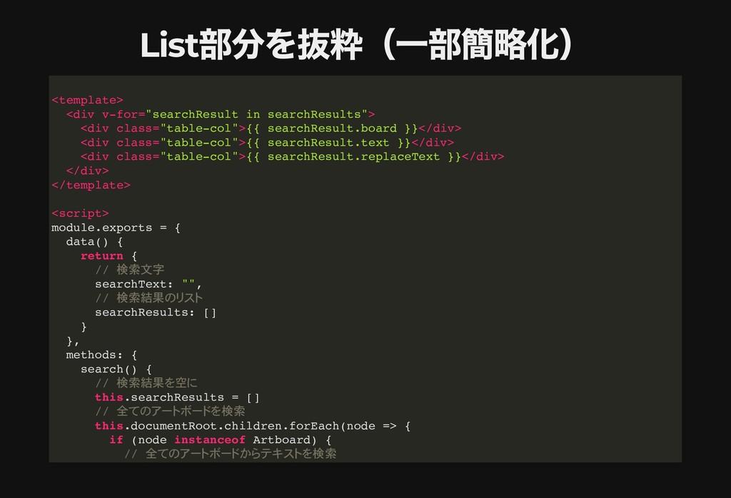 List 部分を抜粋(⼀部簡略化) List 部分を抜粋(⼀部簡略化) <template> ...