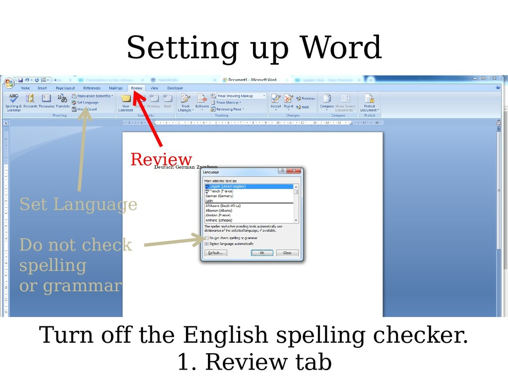 Setting up Word Turn off the English spelling c...