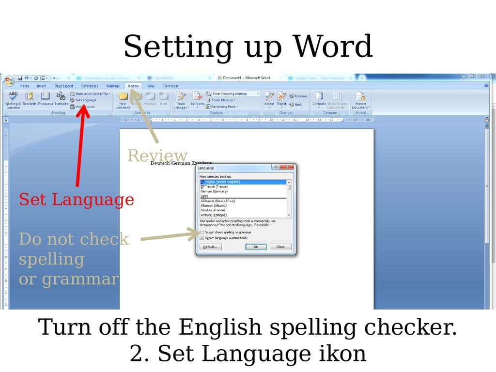 Setting up Word Set Language Do not check spell...
