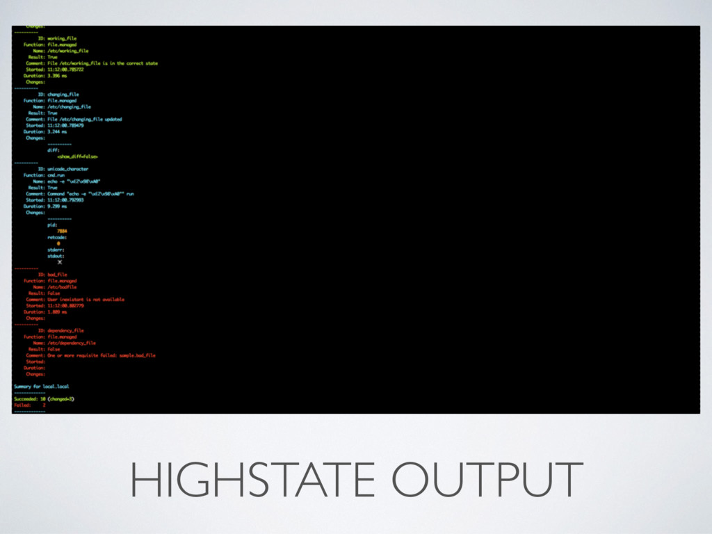 HIGHSTATE OUTPUT