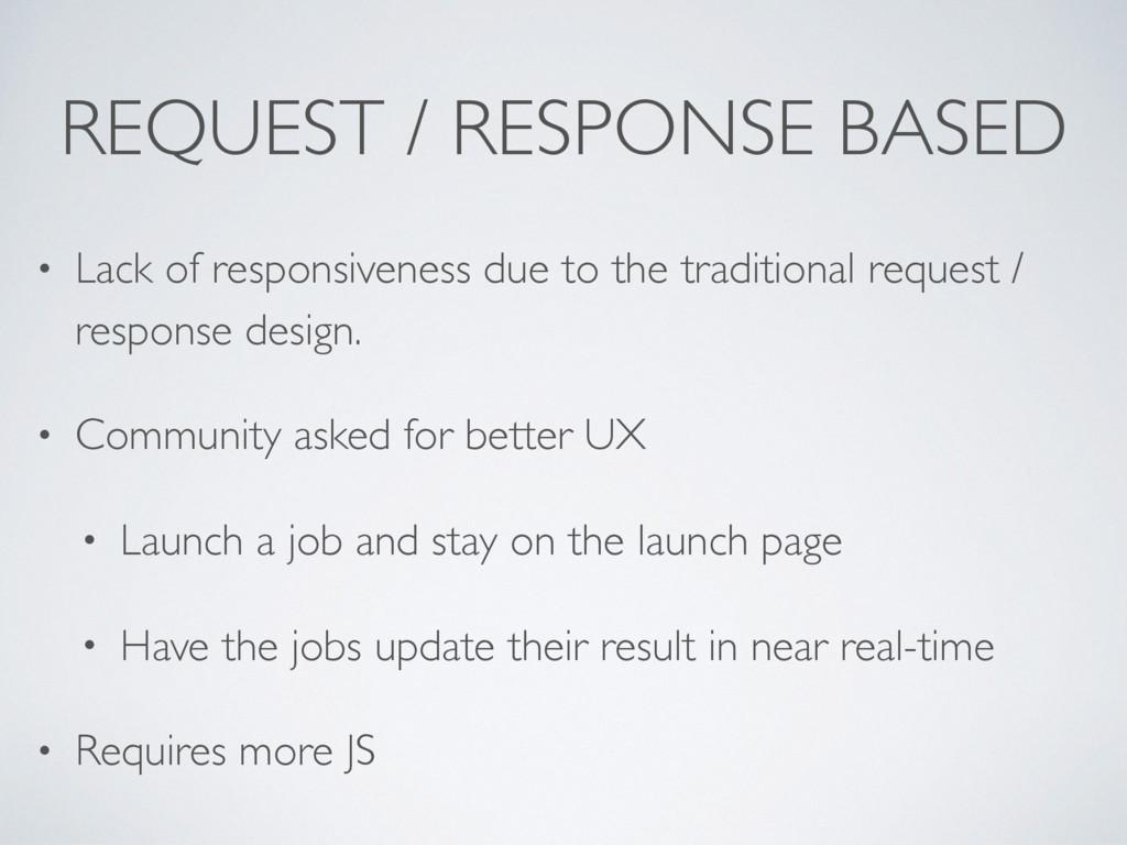 REQUEST / RESPONSE BASED • Lack of responsivene...