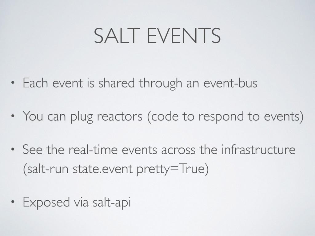 SALT EVENTS • Each event is shared through an e...