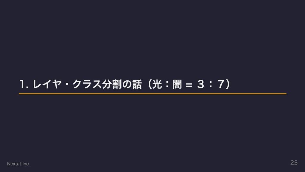 1. レイヤ・クラス分割の話(光:闇 = 3:7) Nextat Inc. 23