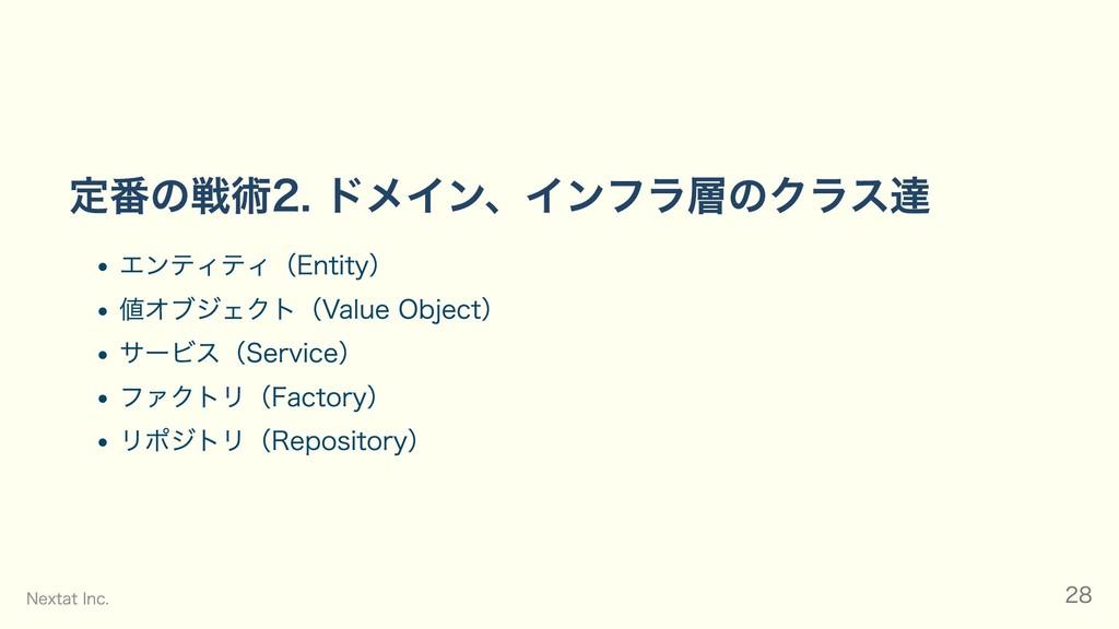 定番の戦術2. ドメイン、インフラ層のクラス達 エンティティ(Entity) 値オブジェクト(...