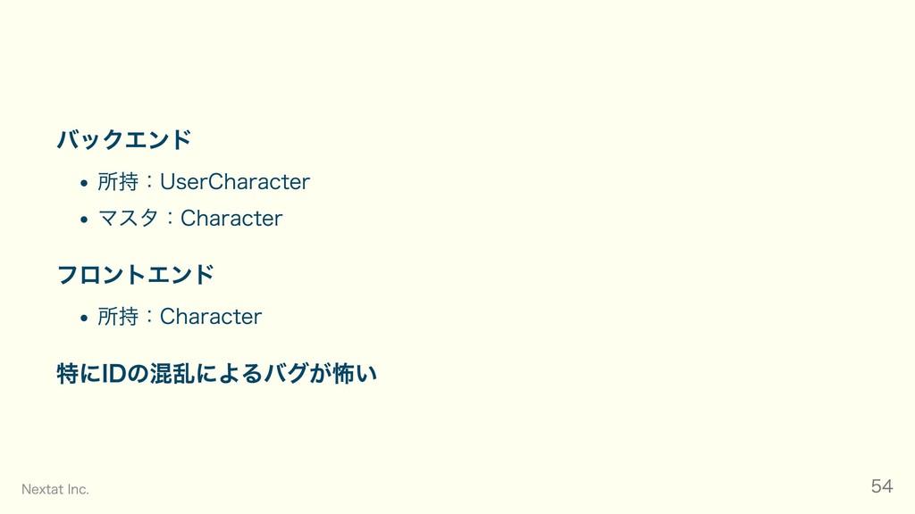 バックエンド 所持:UserCharacter マスタ:Character フロントエンド 所...
