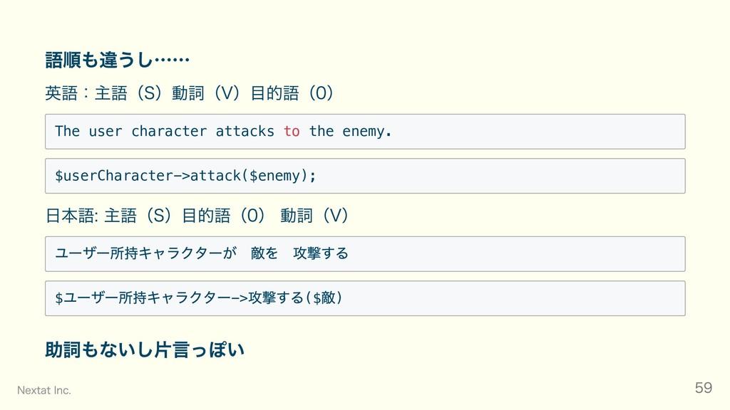 語順も違うし…… 英語:主語(S)動詞(V)⽬的語(0) The user character...