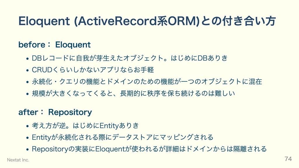 Eloquent (ActiveRecord系ORM)との付き合い⽅ before: Eloq...