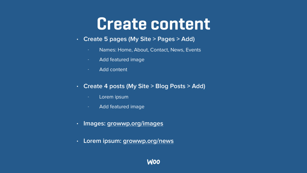 Create content • Create 5 pages (My Site > Page...