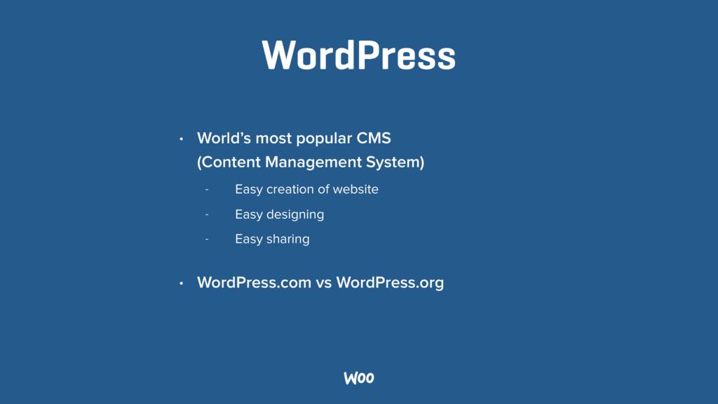 WordPress • World's most popular CMS  (Content...
