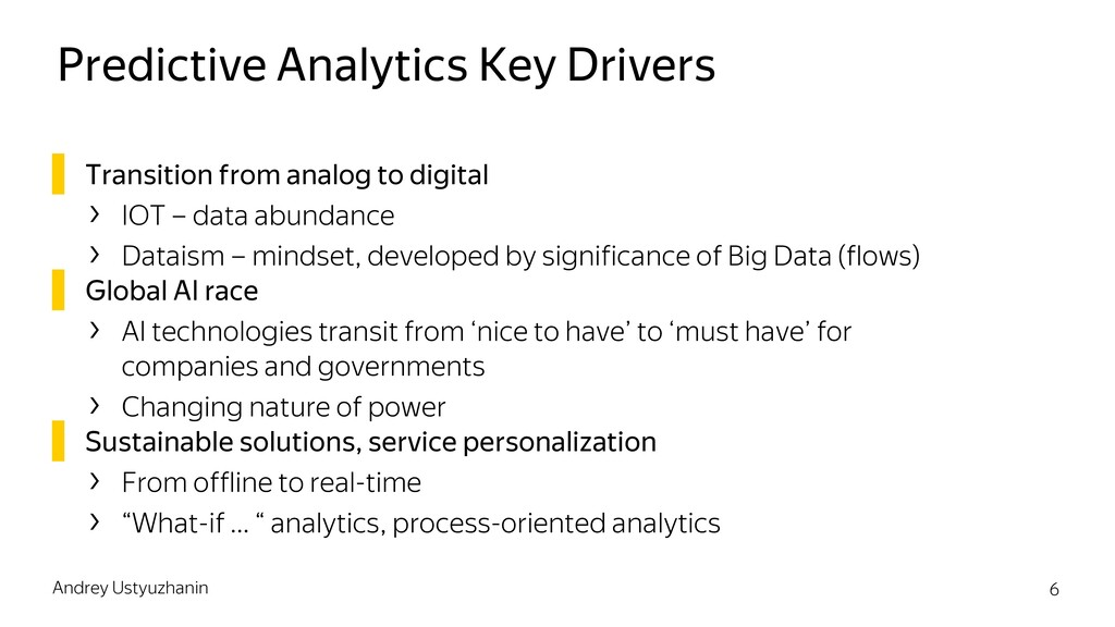 Predictive Analytics Key Drivers ▌ Transition f...