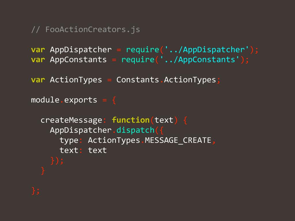 // FooActionCreators.js  ! var AppDisp...