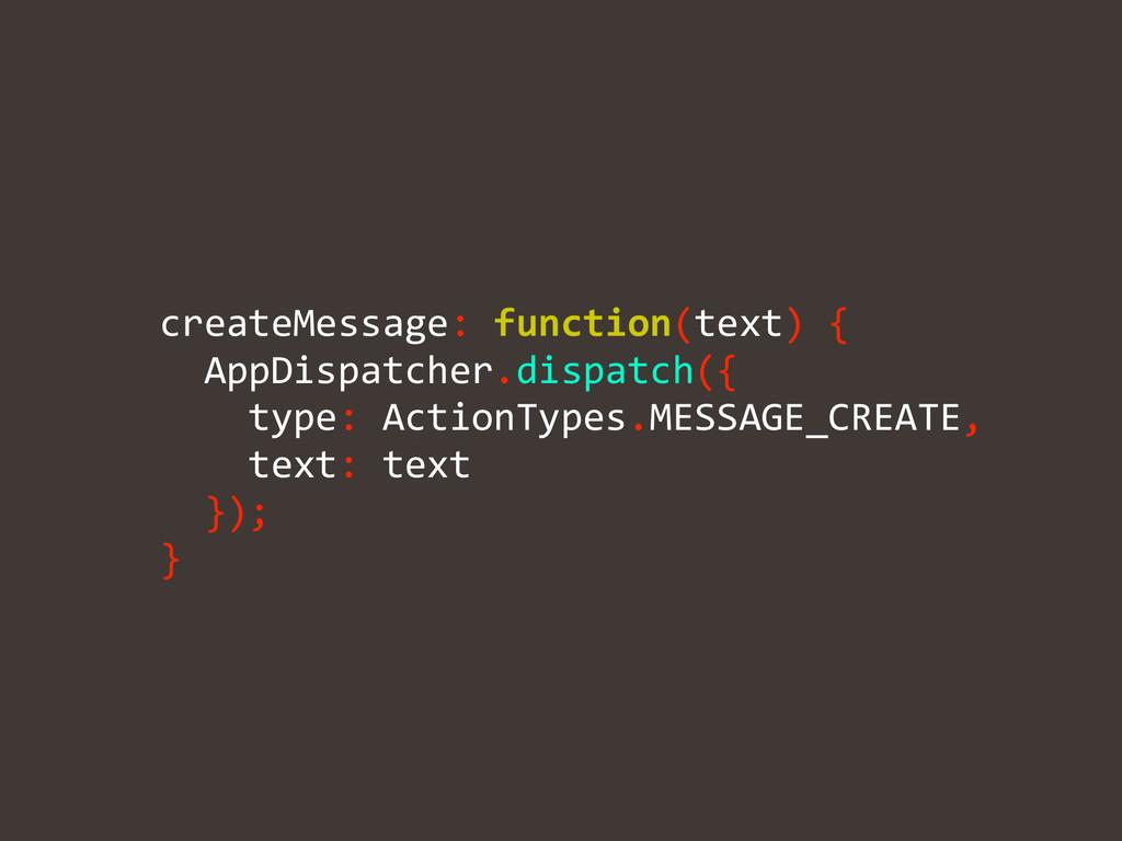 !   createMessage: function(text) {...