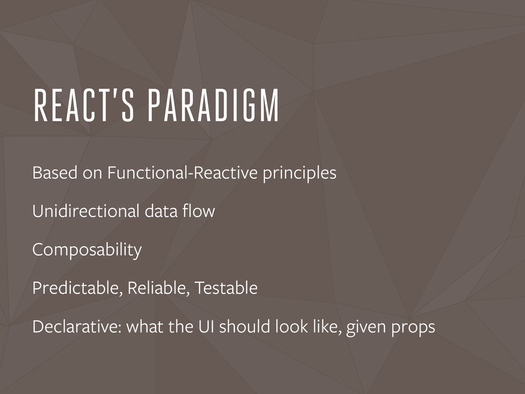 REACT'S PARADIGM Based on Functional-Reactive p...