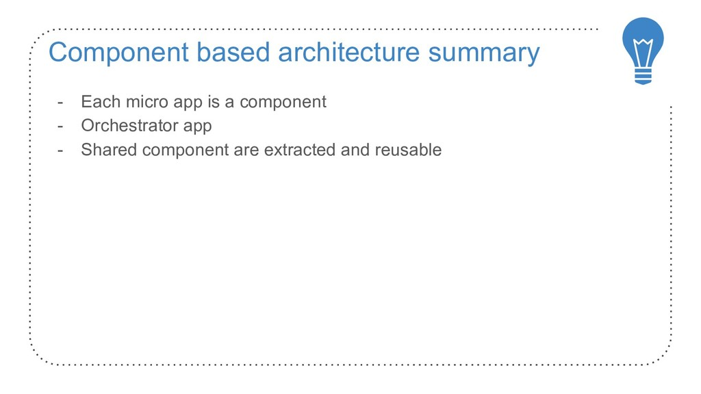 Component based architecture summary - Each mic...