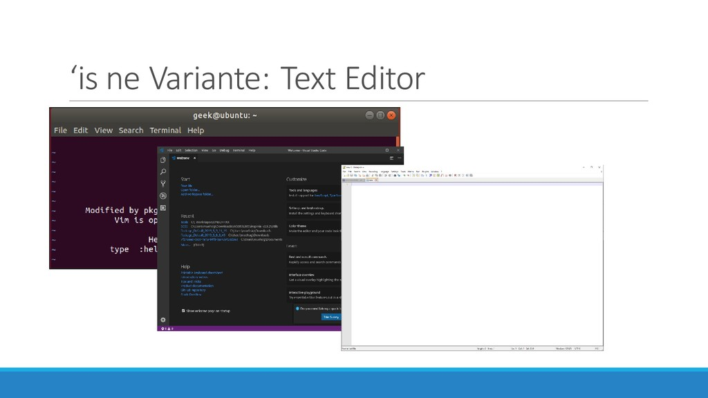 'is ne Variante: Text Editor
