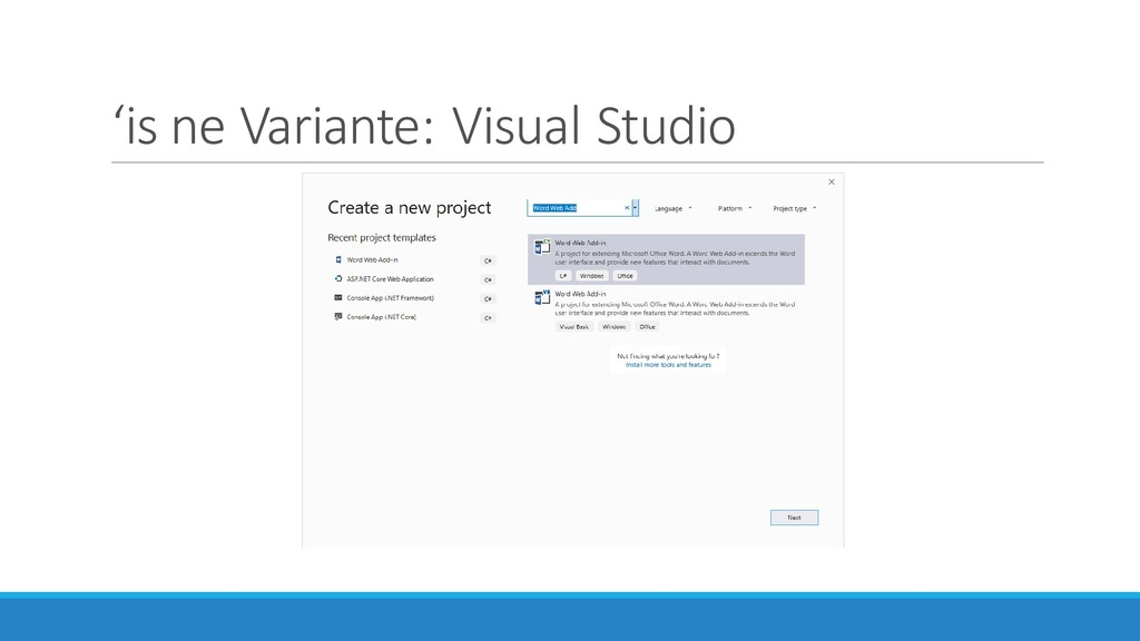 'is ne Variante: Visual Studio