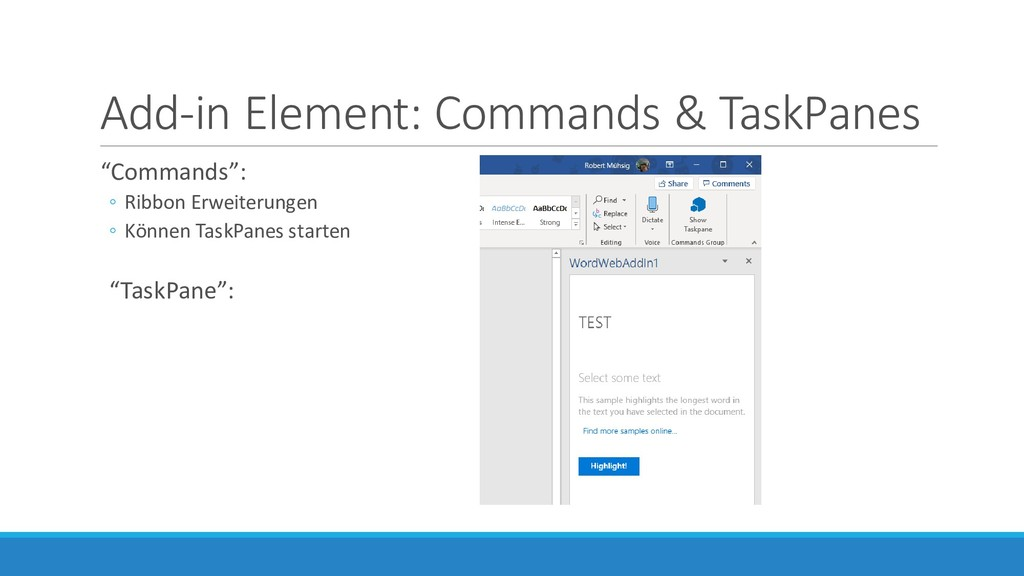 """Add-in Element: Commands & TaskPanes """"Commands""""..."""