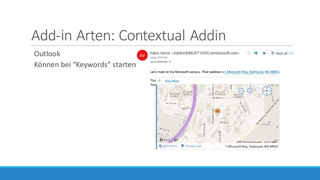 Add-in Arten: Contextual Addin Outlook Können b...