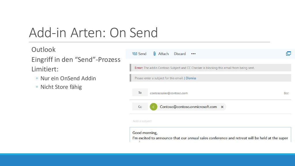 "Add-in Arten: On Send Outlook Eingriff in den ""..."