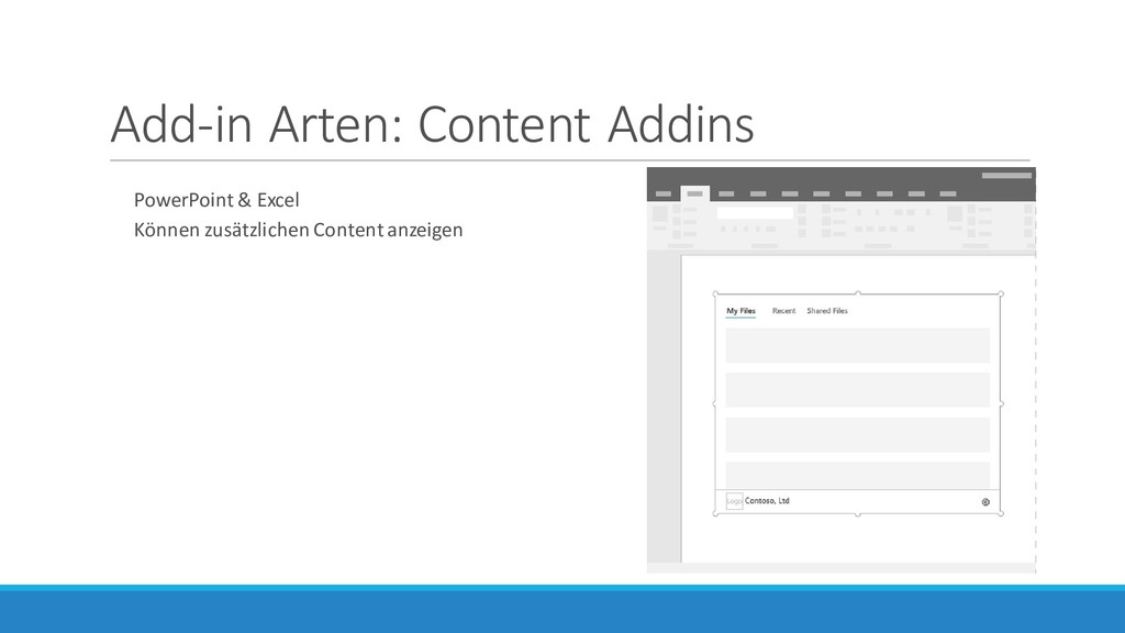 Add-in Arten: Content Addins PowerPoint & Excel...
