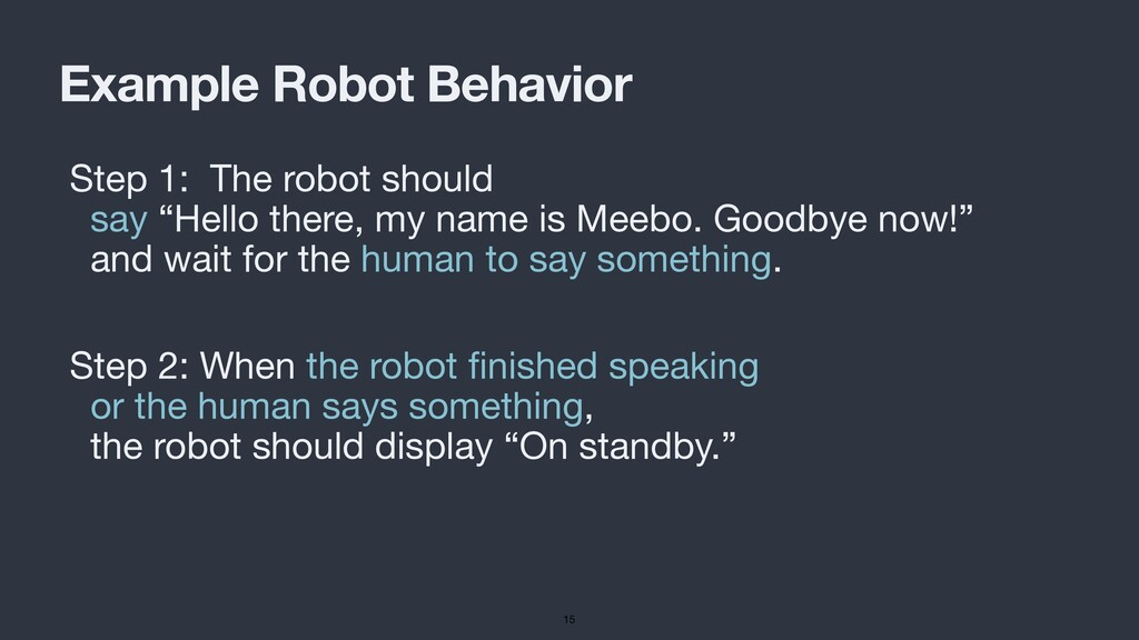 Example Robot Behavior Step 1: The robot should...