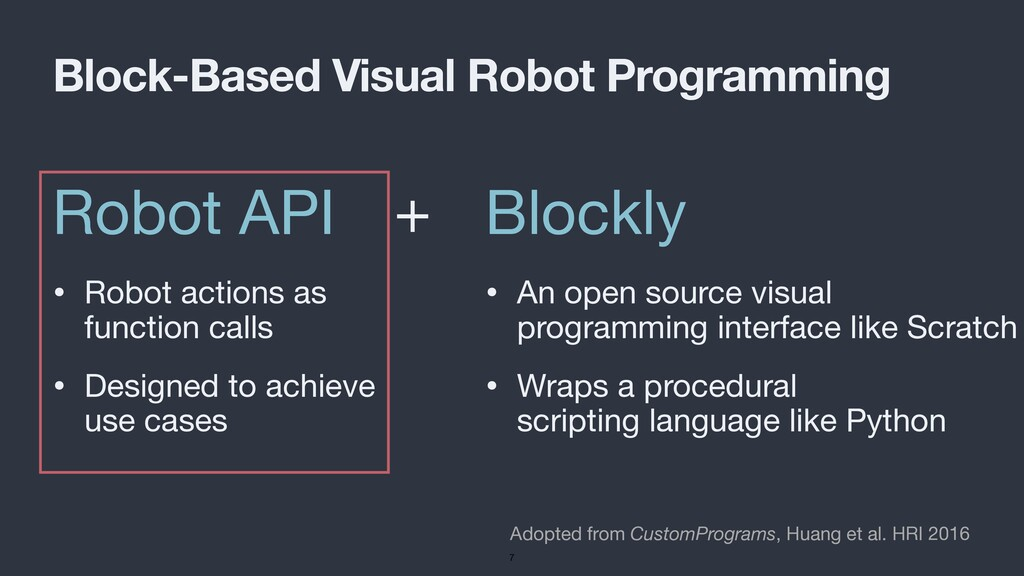Robot API • Robot actions as function calls  • ...