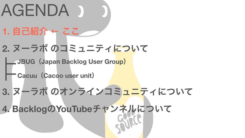 AGENDA 1. ࣗݾհ ← ͜͜ 2. ψʔϥϘ ͷίϛϡχςΟʹ͍ͭͯ 3. ψʔϥϘ...
