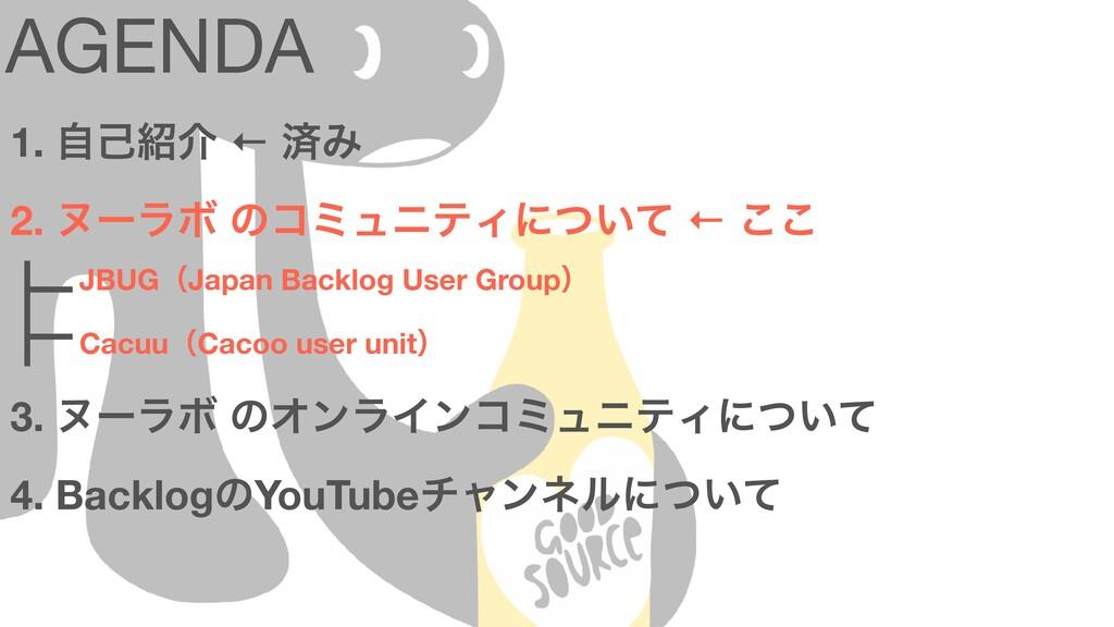 AGENDA 1. ࣗݾհ ← ࡁΈ 2. ψʔϥϘ ͷίϛϡχςΟʹ͍ͭͯ ← ͜͜ɹ 3...