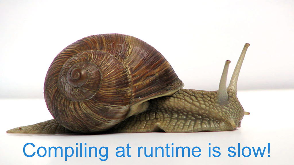 Compiling at runtime is slow!