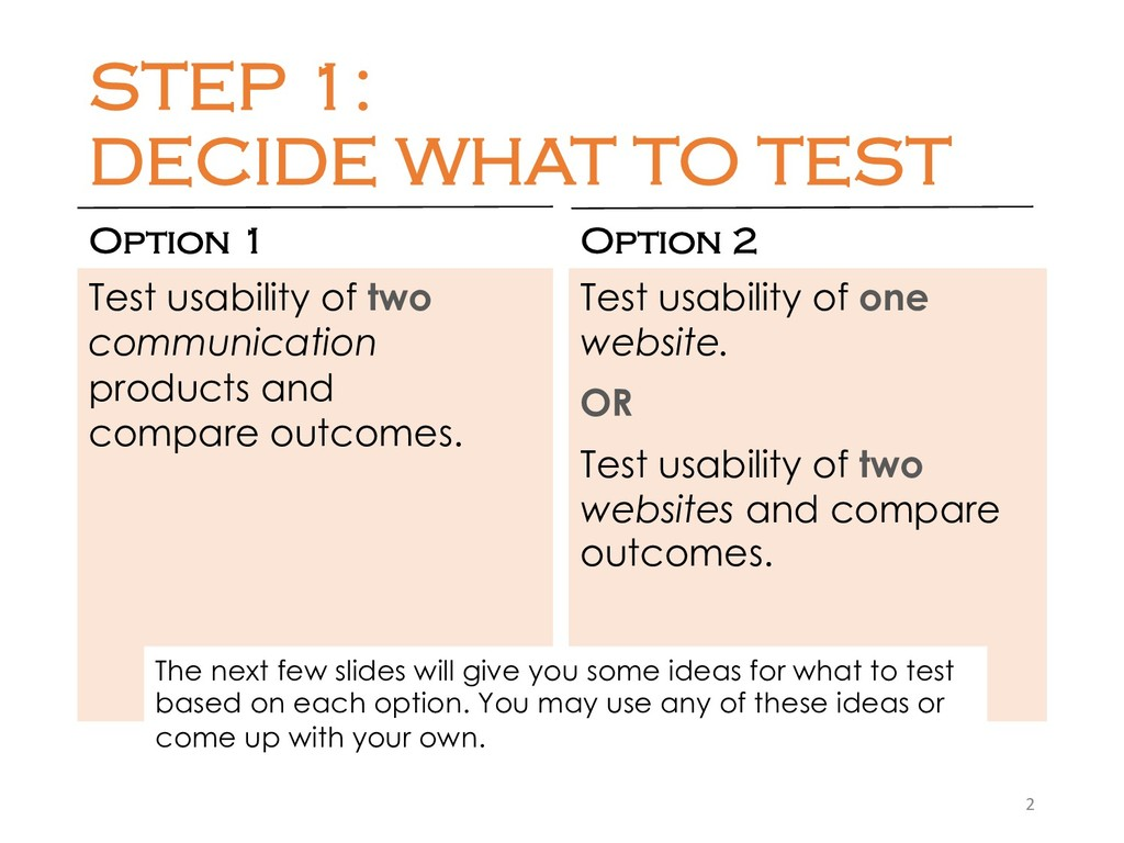 STEP 1: DECIDE WHAT TO TEST Option 1 Test usabi...