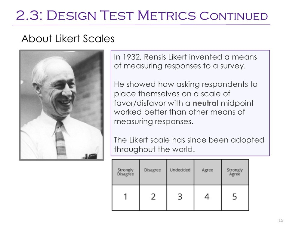 15 In 1932, Rensis Likert invented a means of m...