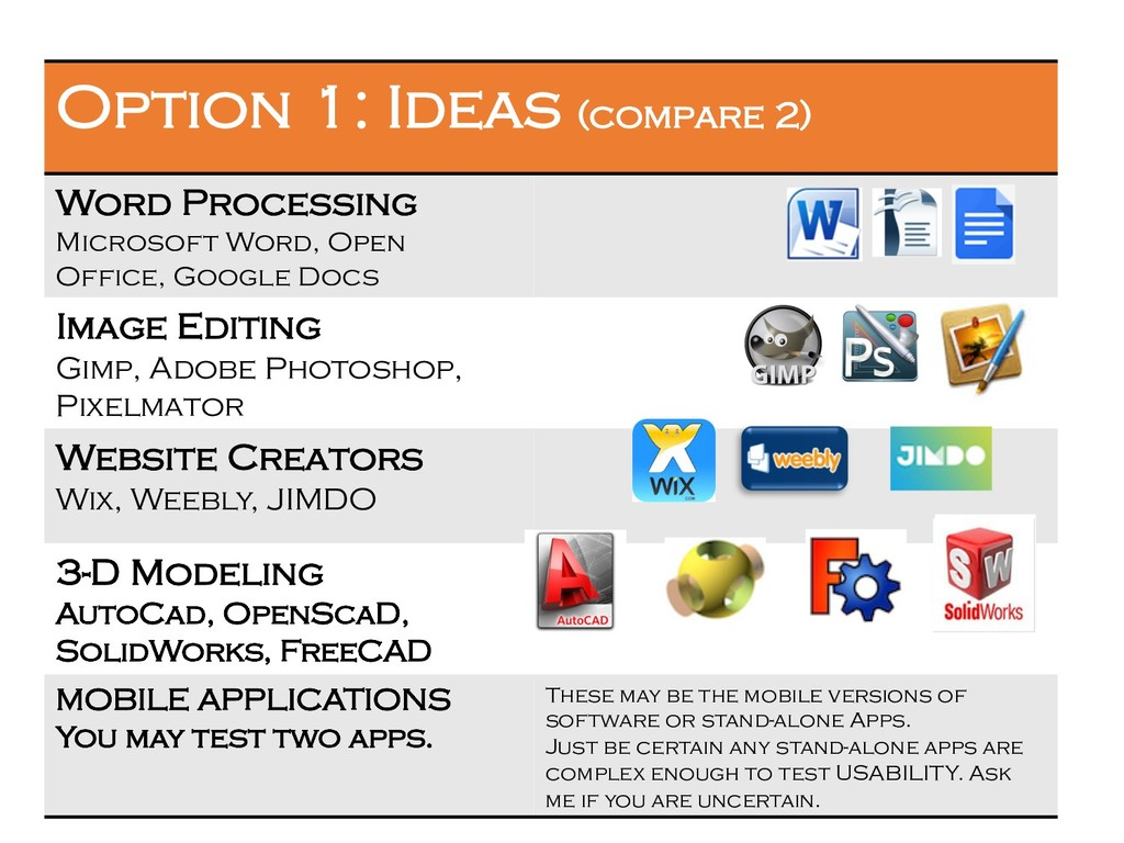 3 Option 1: Ideas (compare 2) Word Processing M...