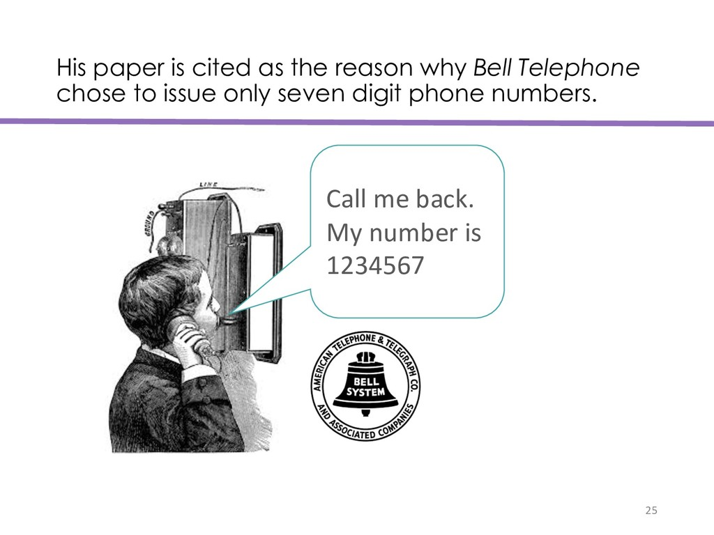 His paper is cited as the reason why Bell Telep...