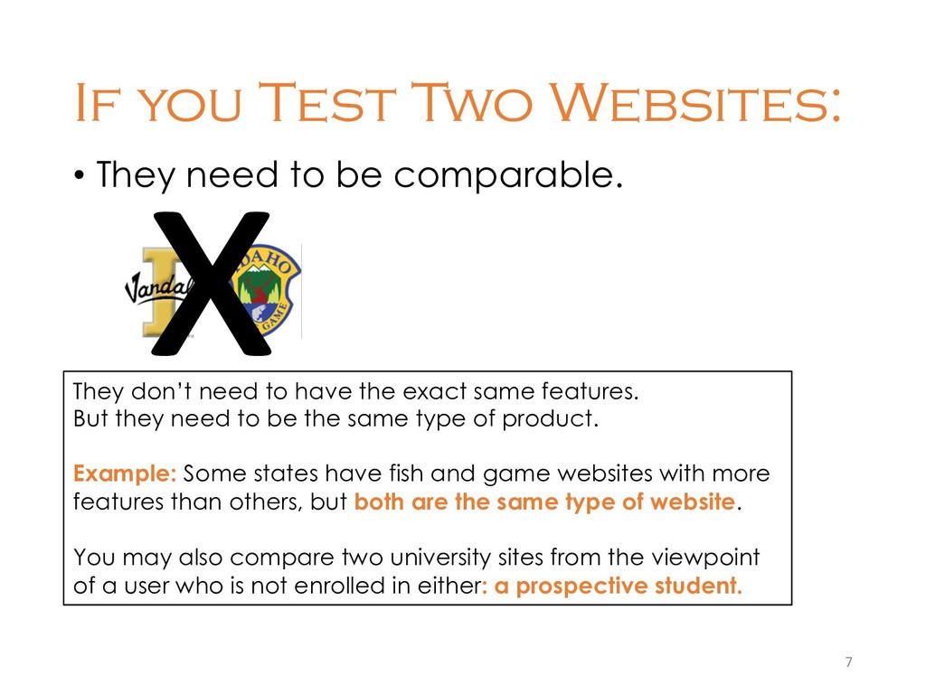 If you Test Two Websites: • They need to be com...
